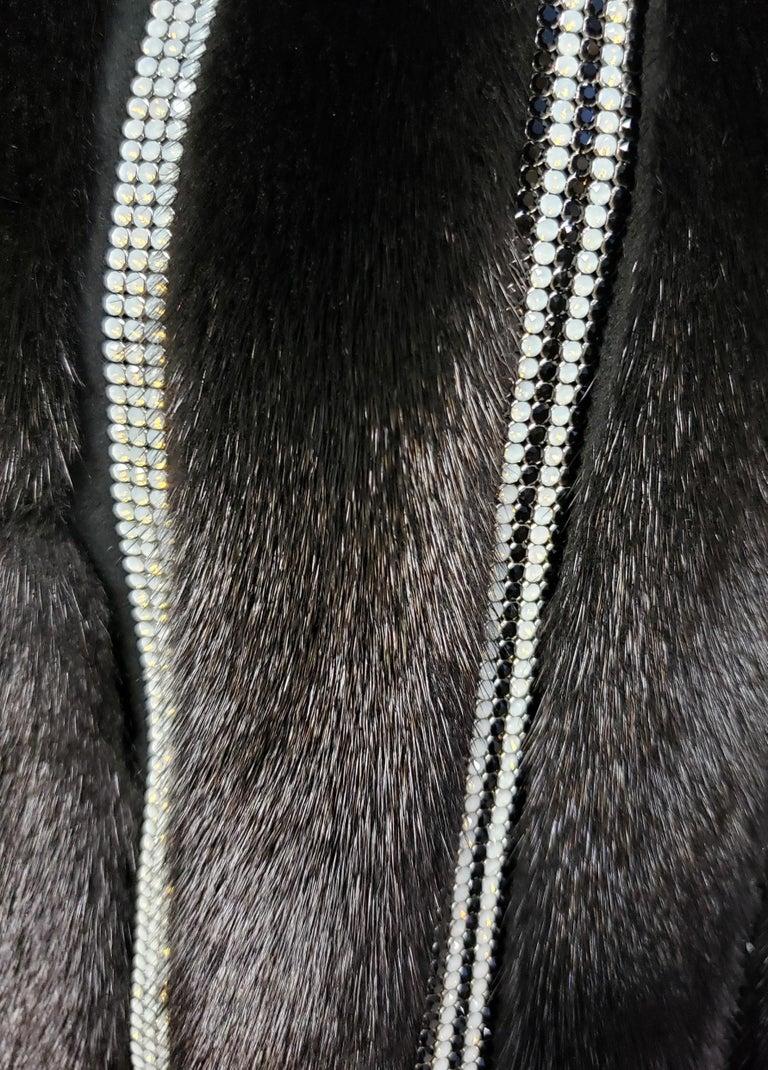 New Versace Crystal Embellished Black Mink Fur Jacket 44 - 8 For Sale 8