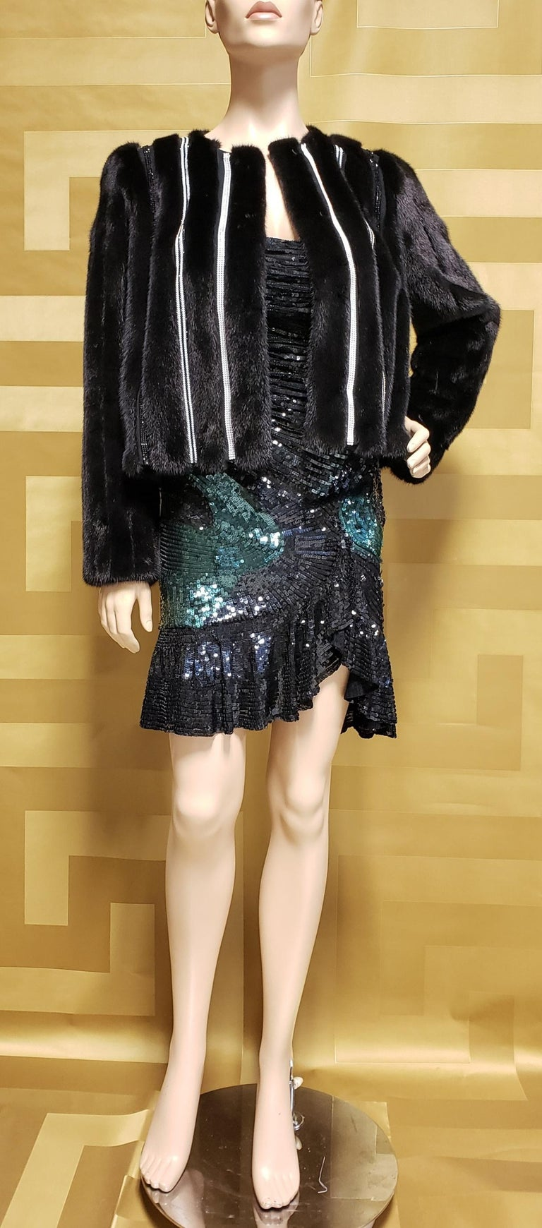 Versace   Mink Fur jacket   100% Mink  Crystal Embellishment  Lining: 100% Silk  IT Size 44 - US 8                                                                                                       New, with tags.