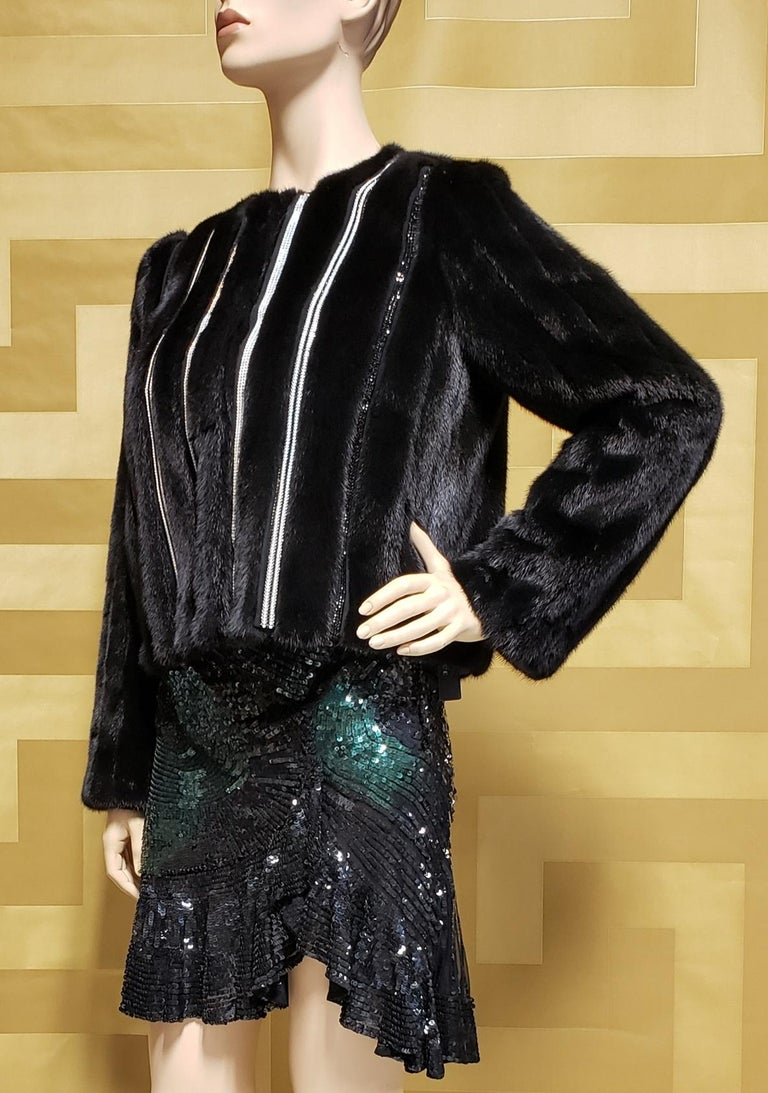 New Versace Crystal Embellished Black Mink Fur Jacket 44 - 8 In New Condition For Sale In Montgomery, TX