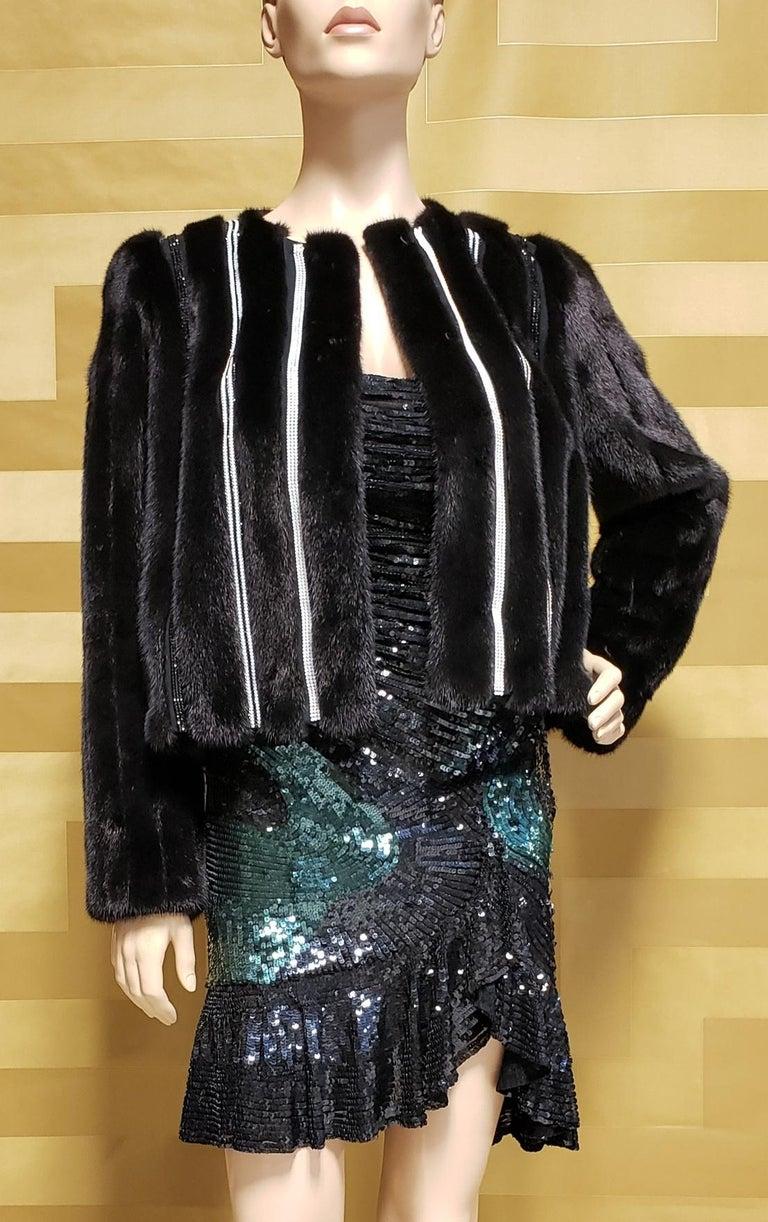 Women's New Versace Crystal Embellished Black Mink Fur Jacket 44 - 8 For Sale