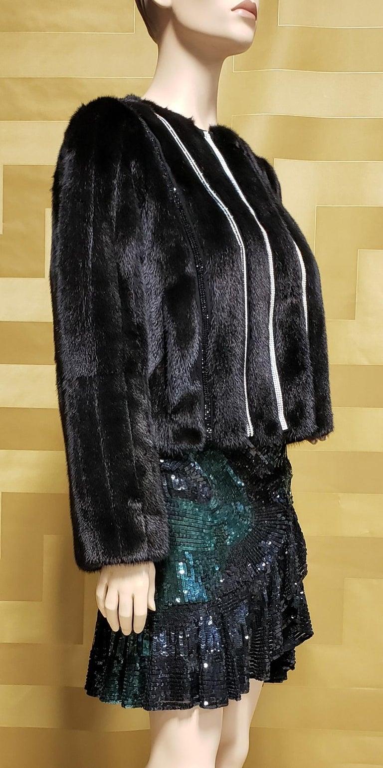 New Versace Crystal Embellished Black Mink Fur Jacket 44 - 8 For Sale 1