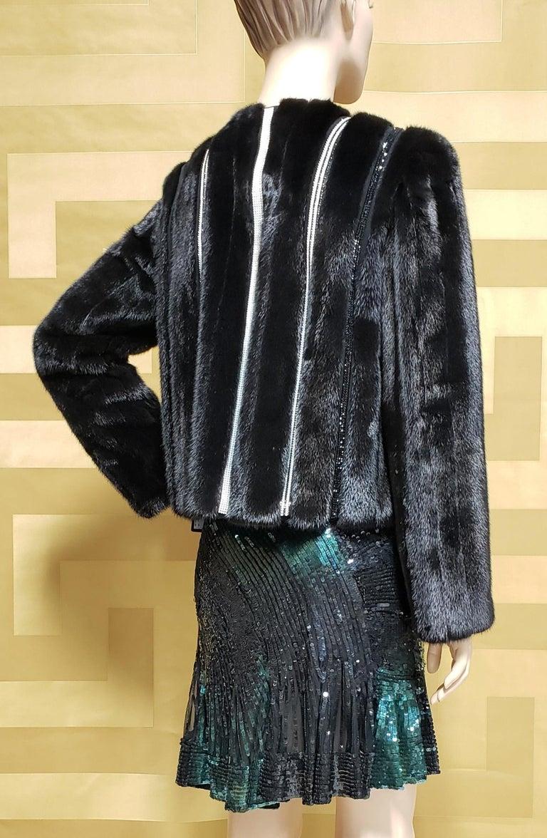 New Versace Crystal Embellished Black Mink Fur Jacket 44 - 8 For Sale 2