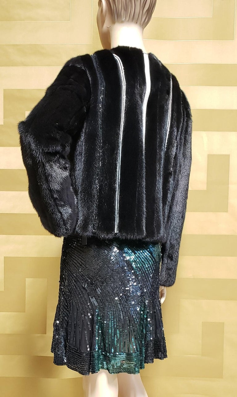 New Versace Crystal Embellished Black Mink Fur Jacket 44 - 8 For Sale 3