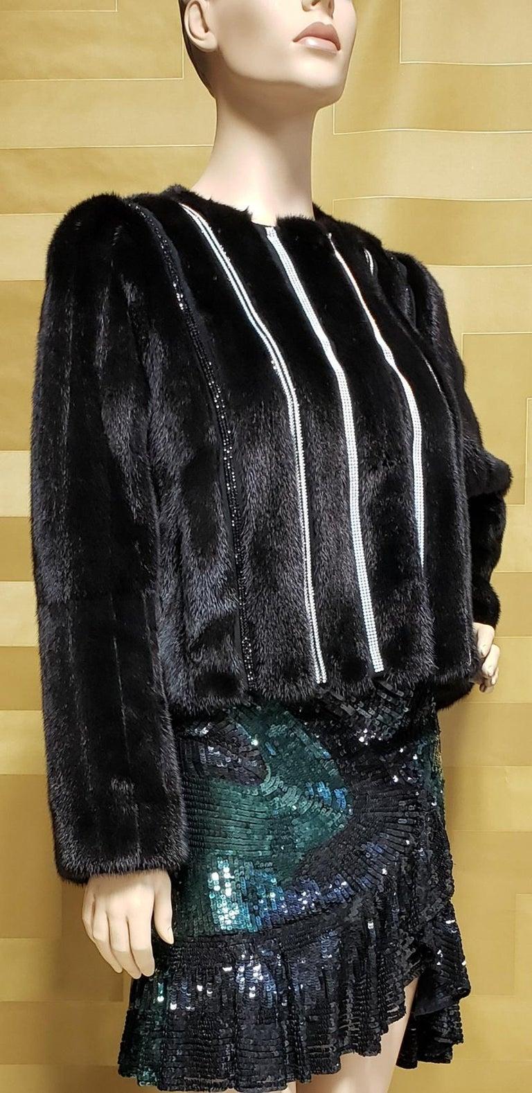 New Versace Crystal Embellished Black Mink Fur Jacket 44 - 8 For Sale 4