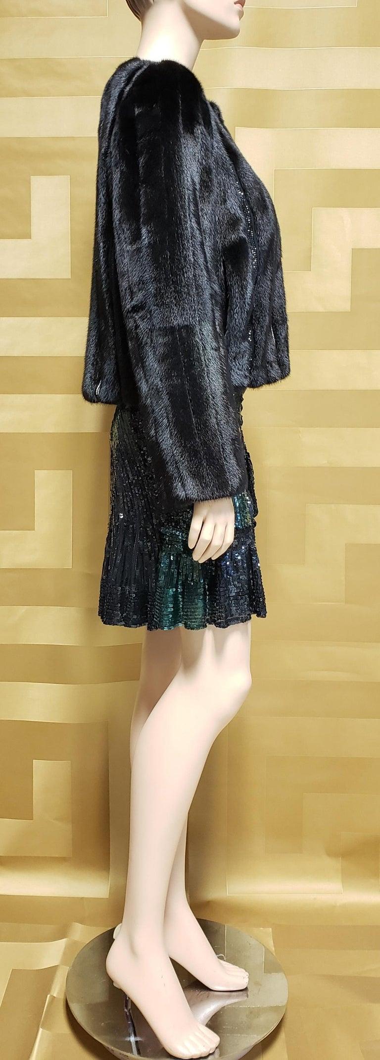 New Versace Crystal Embellished Black Mink Fur Jacket 44 - 8 For Sale 5