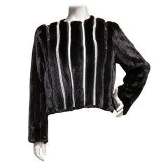 New Versace Crystal Embellished Black Mink Fur Jacket 44 - 8