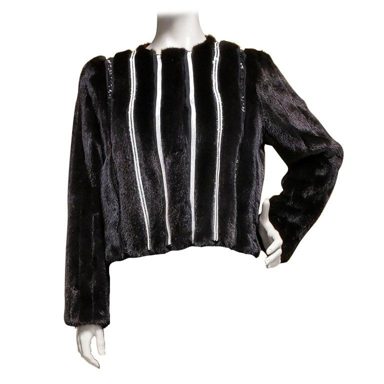 New Versace Crystal Embellished Black Mink Fur Jacket 44 - 8 For Sale