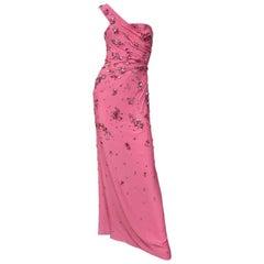 New Versace Crystal Embellished One Shoulder Pink Gown