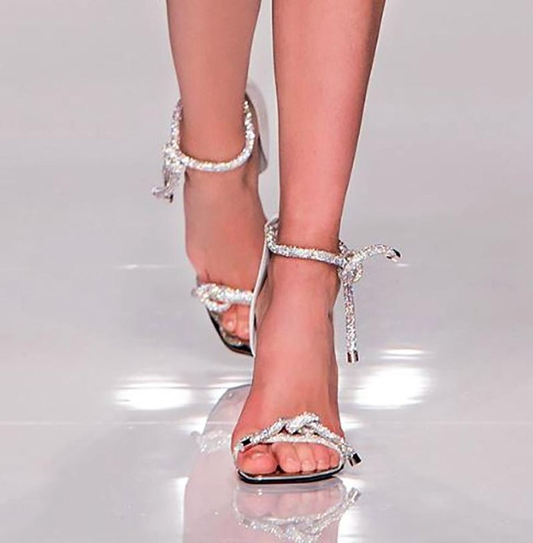 VERSACE   CRYSTAL EMBELLISHED SANDALS  VERY RARE PAIR FROM ATELIER RUNWAY SHOW  Soft suede leather Crystals Mirrored metal toe Leather lining Zipper on the back  Made in Italy Size is 39 - US 9  Brand New. Immaculate condition. In the box.