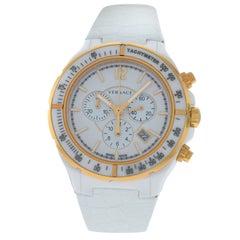 New Versace DV One Gold Tone Ceramic Chrono Quartz Watch