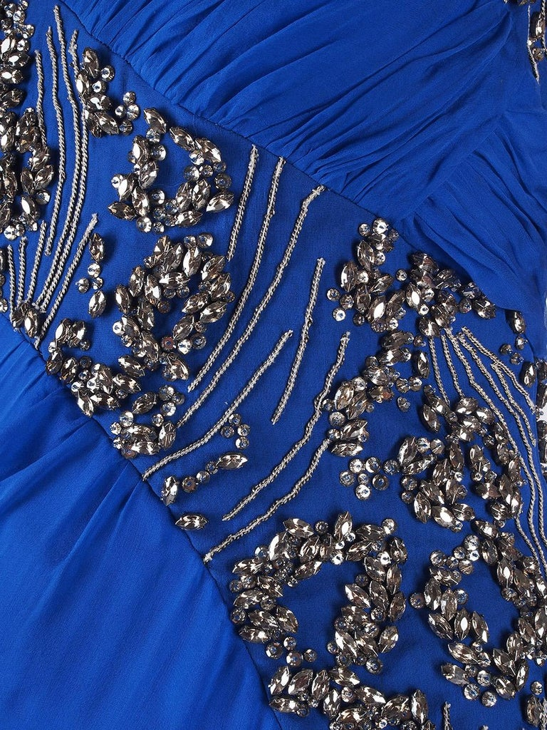 New VERSACE EMBELLISHED ROYAL BLUE CHIFFON SILK GOWN  For Sale 3