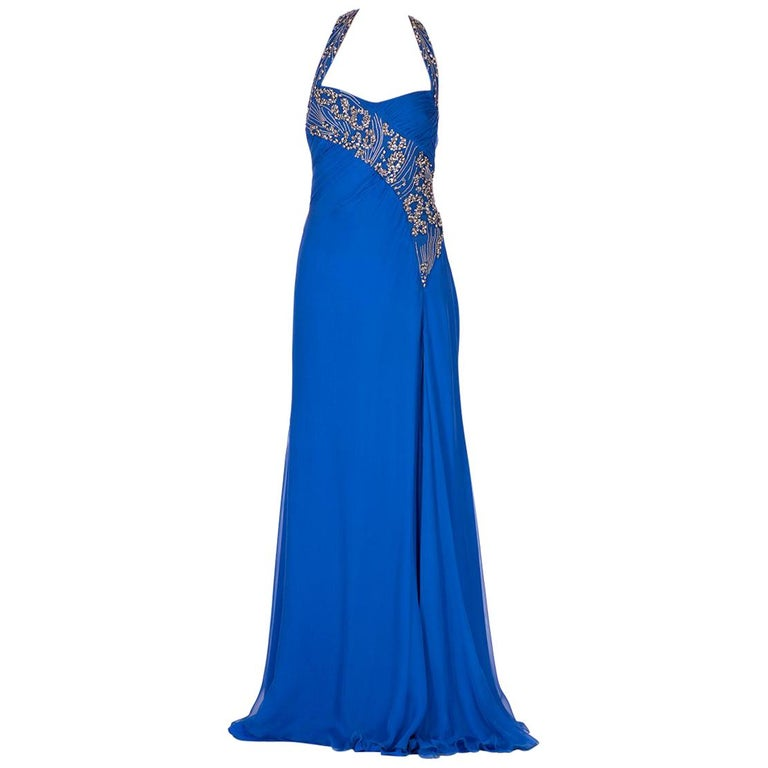 New VERSACE EMBELLISHED ROYAL BLUE CHIFFON SILK GOWN  For Sale