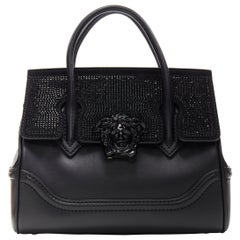 new VERSACE Empire Small black crystal strass embellished flap satchel bag