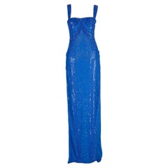 New Versace fully beaded embellished blue gown dress Size 44 - 8