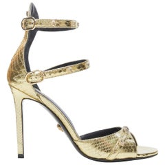 new VERSACE gold Ayers leather Medusa stud open toe strappy heel sandals EU38