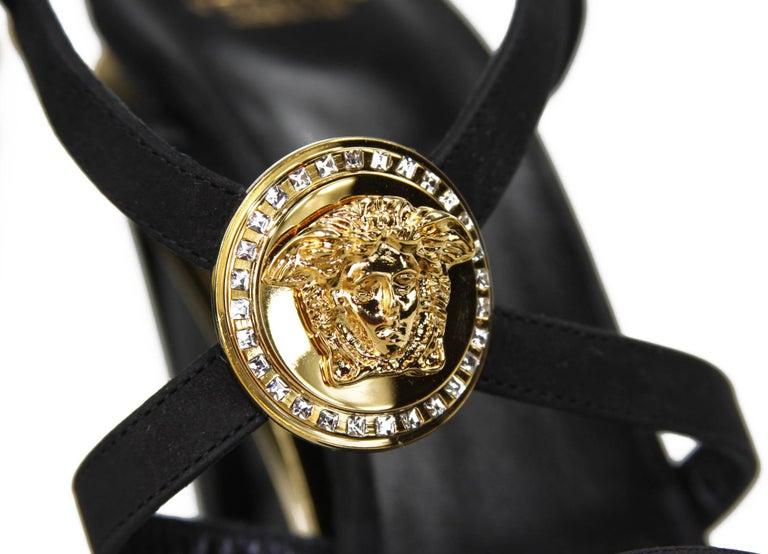 New Versace Gold Black Triple Platform Swarovski Crystals Medusa Shoes Sandals For Sale 2