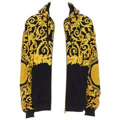 new VERSACE gold Medusa baroque floral print black cotton casual zip hoodie XL