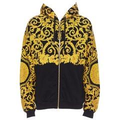 new VERSACE gold Medusa baroque floral print black cotton casual zip up hoodie L