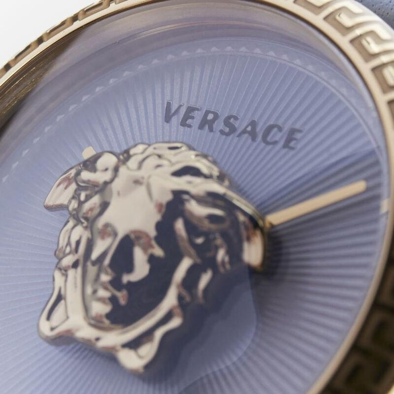 new VERSACE gold plated Palazzo Empire greca bezel Medusa blue 39mm ladies watch For Sale 6