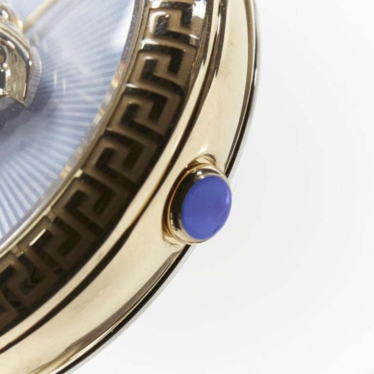 new VERSACE gold plated Palazzo Empire greca bezel Medusa blue 39mm ladies watch For Sale 7
