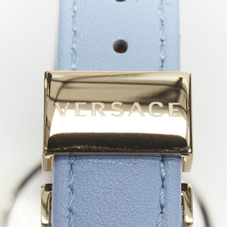 new VERSACE gold plated Palazzo Empire greca bezel Medusa blue 39mm ladies watch For Sale 8