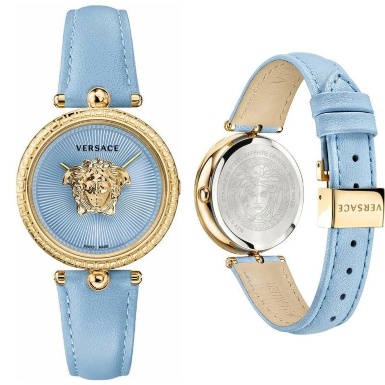 new VERSACE gold plated Palazzo Empire greca bezel Medusa blue 39mm ladies watch Brand: Versace Designer: Donatella Versace Collection: Spring Summer 2018 Model Name / Style: Palazzo Empire watch Material: Metal, leather Color: Blue Pattern: