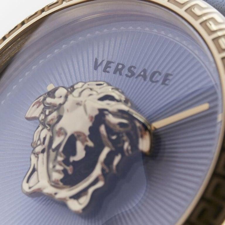 Women's new VERSACE gold plated Palazzo Empire greca bezel Medusa blue 39mm ladies watch For Sale