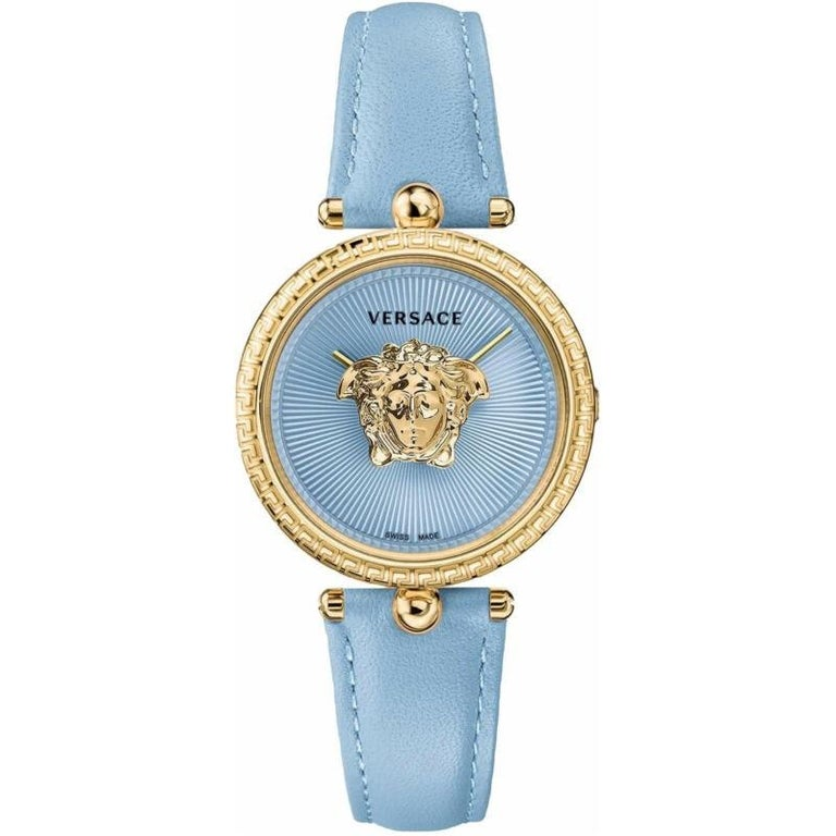 new VERSACE gold plated Palazzo Empire greca bezel Medusa blue 39mm ladies watch For Sale 3