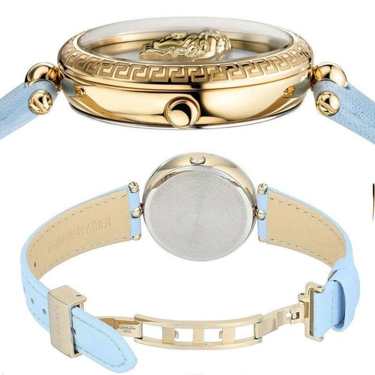 new VERSACE gold plated Palazzo Empire greca bezel Medusa blue 39mm ladies watch For Sale 5
