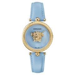 new VERSACE gold plated Palazzo Empire greca bezel Medusa blue 39mm ladies watch