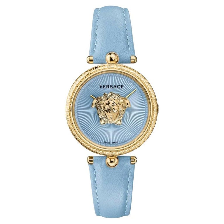new VERSACE gold plated Palazzo Empire greca bezel Medusa blue 39mm ladies watch For Sale