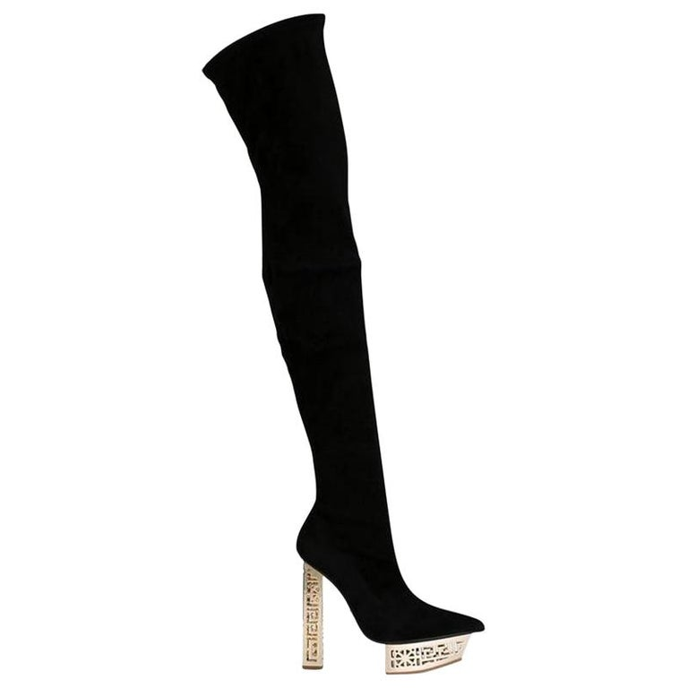 NEW VERSACE #GREEK BLACK SUEDE OVER The KNEE BOOTS Size 37.5 For Sale