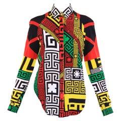 New VERSACE #Greek Key Printed 100% Silk Button Up Shirt w/ Open Back