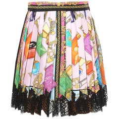 New VERSACE HEAVENLY SCENTS PLEATED SILK SKIRT 38 - 2