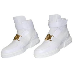 New VERSACE HIGH -TOP WHITE LEATHER SNEAKERS GOLD MEDUSA 46 - 13