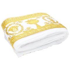 new VERSACE HOME gold white baroque Medudsa print trimmed white towel