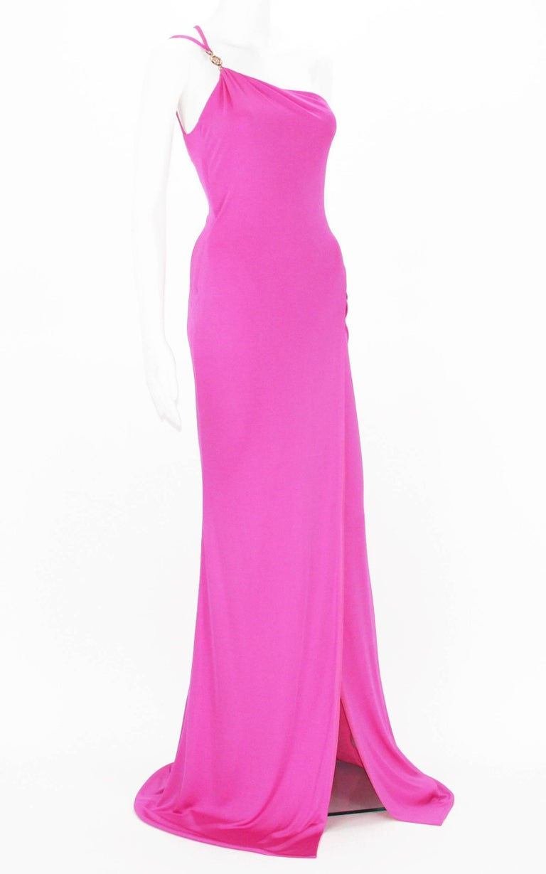New Versace Hot Pink Jersey One Shoulder Long Dress  Designer size 38 Gold tone Metal Medusa Logo with Swarovski Crystals Side High Slit, Side Zip Closure, Double Layered, Stretch. New with tag.  Listing code: 0417201854580222958