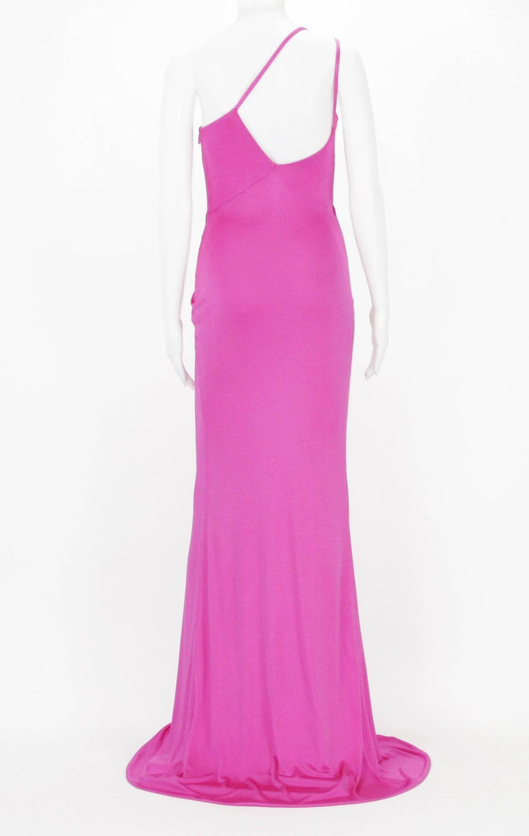 Women's New Versace Hot Pink Swarovski Crystals Medusa Jersey Long Dress 38 For Sale
