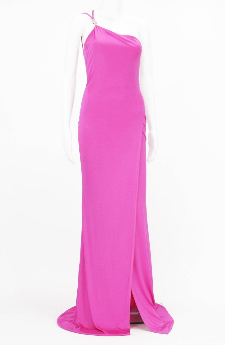 New Versace Hot Pink Swarovski Crystals Medusa Jersey Long Dress 38 For Sale 1