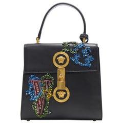 NEW VERSACE Icon Flap black baroque Swarovski crystal embellished bag
