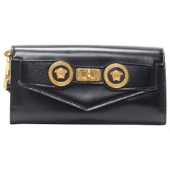 new VERSACE Icon Medusa black leather long continental wallet kelly clutch