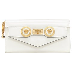 new VERSACE Icon Medusa white leather long continental wallet kelly clutch