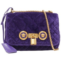 new VERSACE Icon Small purple quilted velvet dual Medusa gold chain flap bag