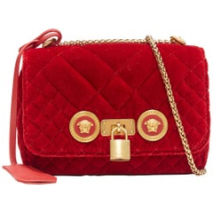 new VERSACE Icon Small red quilted velvet dual Medusa gold chain flap bag