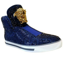 New Versace Idol Palazzo High -Top Blue Crystal Embellished Sneakers