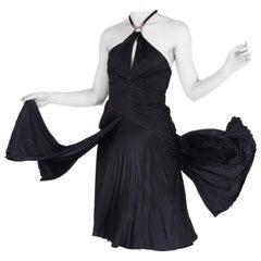 NEW VERSACE KEYHOLE BLACK JERSEY DRESS with METAL TASSEL DETAIL Size 40