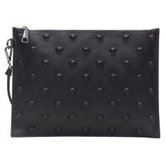 new VERSACE large black pebble leather Medusa studded wristlet pouch clutch bag