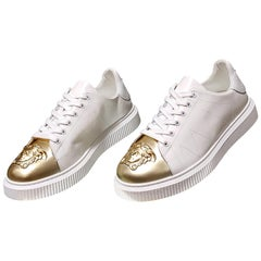 New VERSACE LEATHER SNEAKERS WHITE GOLD MEDUSA TOE 41, 46