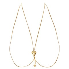 new VERSACE Love Heart Signature Safety Pin Medusa gold-tone bodychain necklace