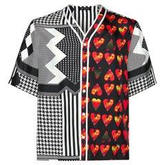 NEW VERSACE LOVE PRINT 100% SILK BASEBALL Shirt IT 50, 52